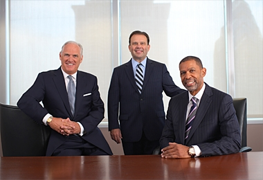 Daniel J. Hilferty, Independence Blue Cross president and CEO; Daniel J. Loepp, Blue Cross Blue Shield of Michigan president and CEO; and Michael A. Rashid, AmeriHealth Mercy Family of Companies president and CEO
